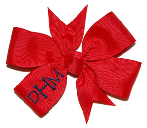 Red/Navy Monogram Initials Bow