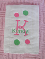Baby Girl Polka Dot Burp Cloth - Pink & Green