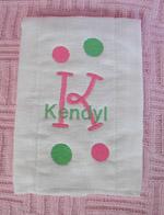 Baby Girl Polka Dot Burp Cloth - Pink & Green
