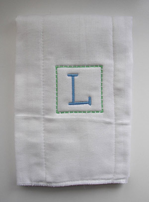 Baby Boy Initial Burp Cloth - Blue & Green - Kiddie Font