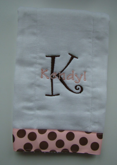Baby GIRL MOD Burp Cloth - Brown Initial/Pink Name/Pink & Brown Polka Dot Ribbon