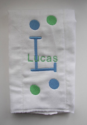 Baby Boy Polka Dot Burp Cloth - Blue & Green