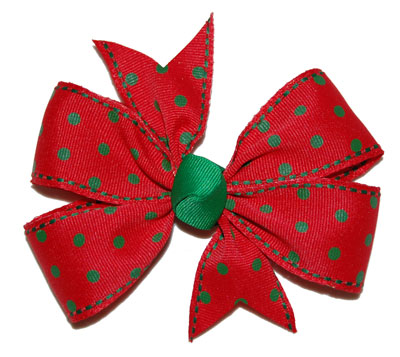 Large Red/Green Polka Dot Lollipop Bow