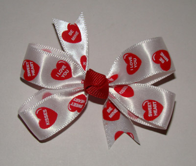 Small Conversation Hearts Satin Bow