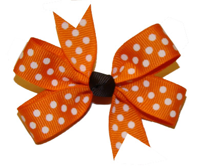 Small (Baby) Orange/White Polka Dots with Black Knot Bow