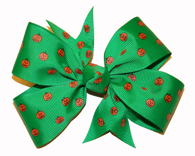 Large Emerald Green Ribbon with Pumpkins Bow