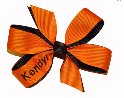 Embroidered Orange/Black Name Bow