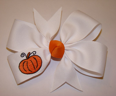 Embroidered Pumpkin Bow