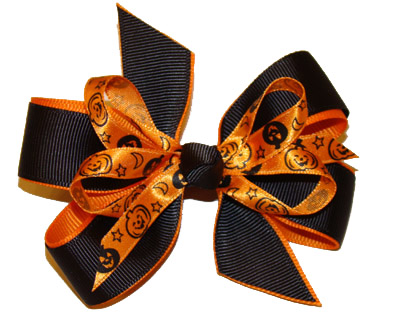 LARGE Halloween Pumpkin Loop Bow