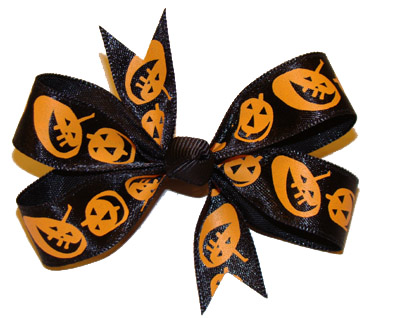 Black Satin Pumpkin Bow - CUTE!!