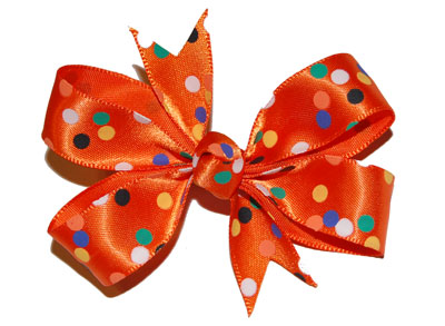 Small (Baby) Satin Halloween Polka Dot Bow