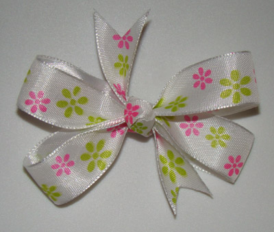 Infant Pink & Green Flower Hair Bow with WHITE knot