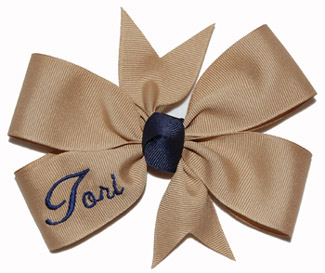 Large Khaki/Navy Blue Name Bow