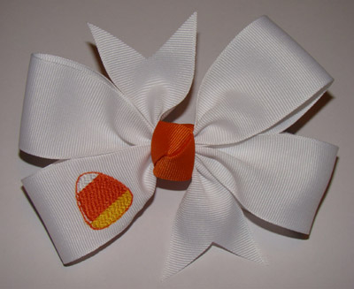 Embroidered Candy Corn Bow