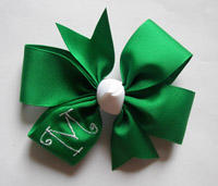 Large Emerald Ribbon/White Monogram & Knot
