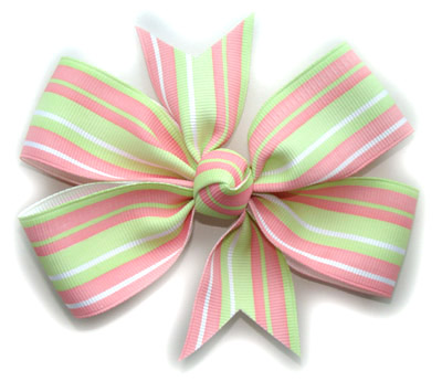 Large Strawberry Pistachio Stripe Bow