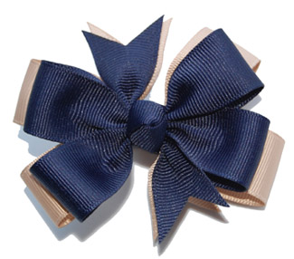 Medium Navy/Khaki Layered Bow