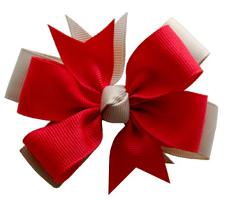 Medium Red/Khaki Layered Bow