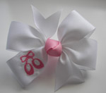 White Embroidered Ballet Bow