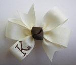 TODDLER Cream Ribbon/Brown Monogram & Knot