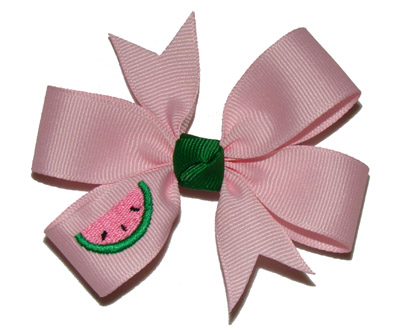 Toddler (Medium) Pink Embroidered Watermelon Bow