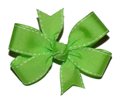 Toddler Apple Green/White Stitch Bow
