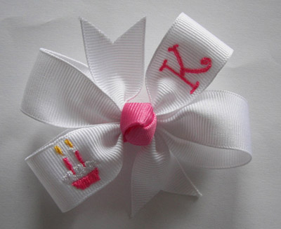 TWO Candles Embroidered Cupcake Birthday Bow