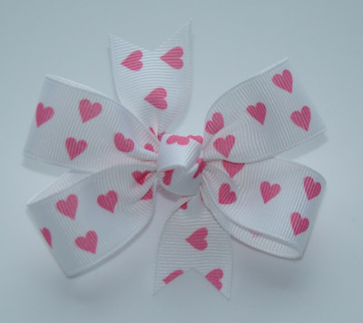 Toddler White/Pink Hearts Bow