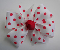 LARGE White/Red Polka Dots Bow