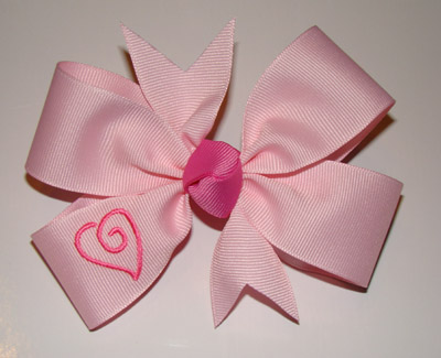Large Embroidered Swirly Heart Bow - Light Pink Ribbon/Hot Pink Heart