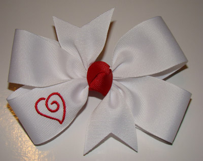 Large Embroidered Swirly Heart Bow - White Ribbon/Red Heart
