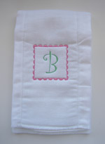 Baby Girl Initial Burp Cloth - Pink & Green - Curlz Font