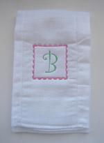 Baby Girl Initial Burp Cloth - Pink & Green - Curlz Font